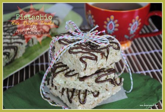 Shugary Sweets: Pistachio Rice Krispie Treats with Dark Chocolate