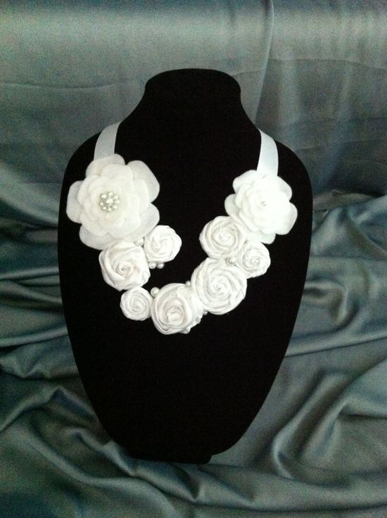 Handmade Fabric flower necklace. Well suited for a wedding / anniversary / birthday / prom /special event.