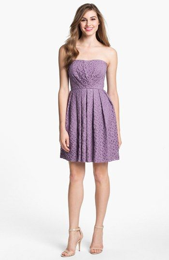 Donna Morgan 'Nicole' strapless lace dress in 'dusty plum'