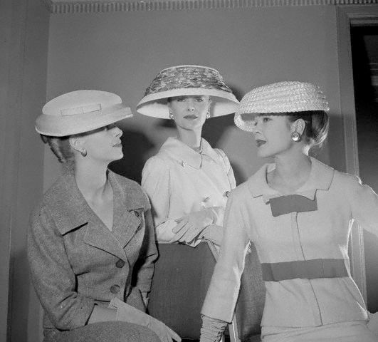 A trio of eye-catching, fairly generously sized hats from 1956. #vintage #hat #fashion #models #1950s