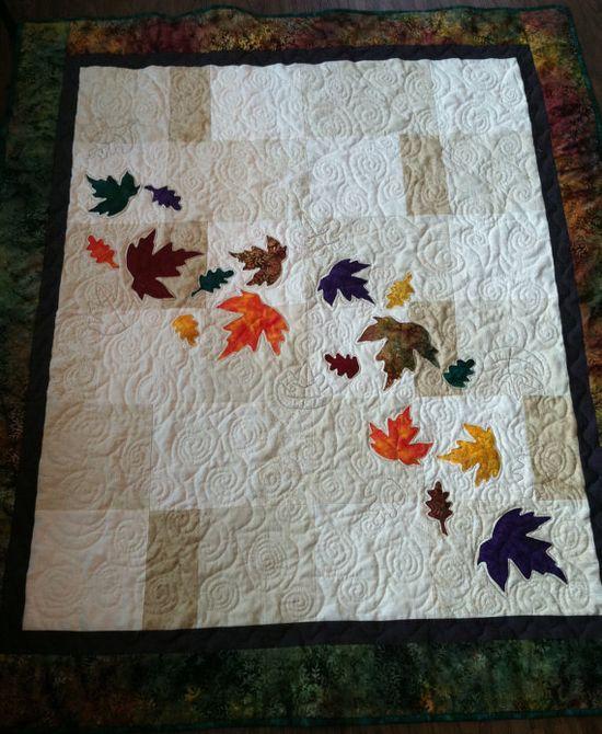 autumn leaves throw quilt