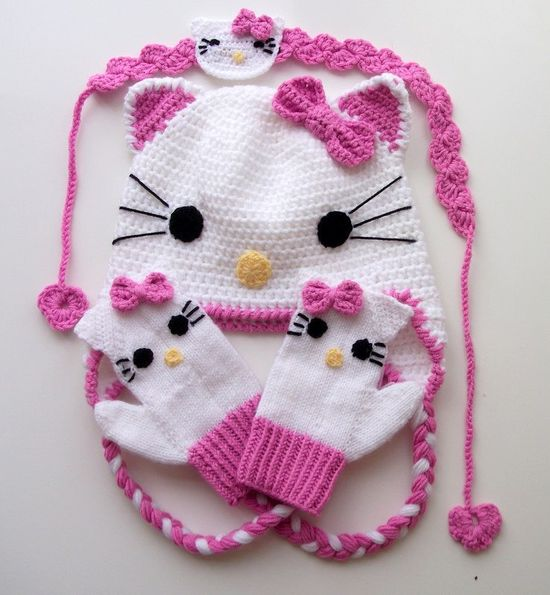 Crochet Kitty Hat,kitty mitten,hair band -for Baby or Toddler-Baby Girl Hat. $45.00, via Etsy.