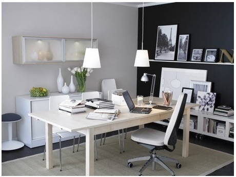 Home office using IKEA furniture