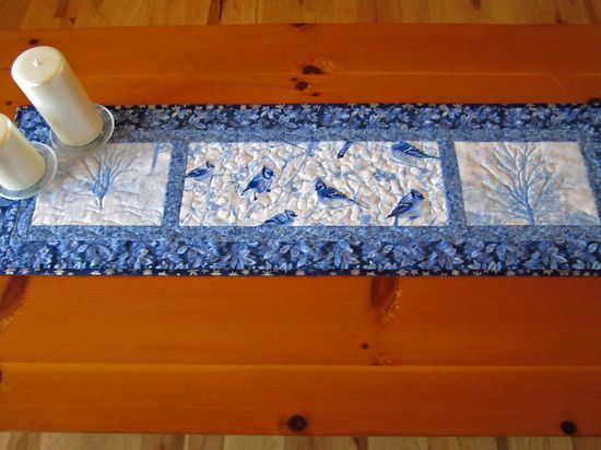 Handmade Quilted Table Runner Winter Birds and Trees  at Patchwork Mountain