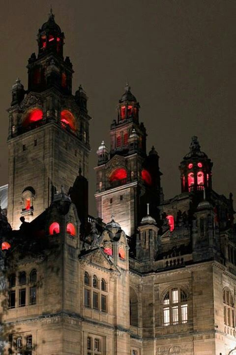 Enchanted Castles.  I love the red in the windows, it makes it look spooky!