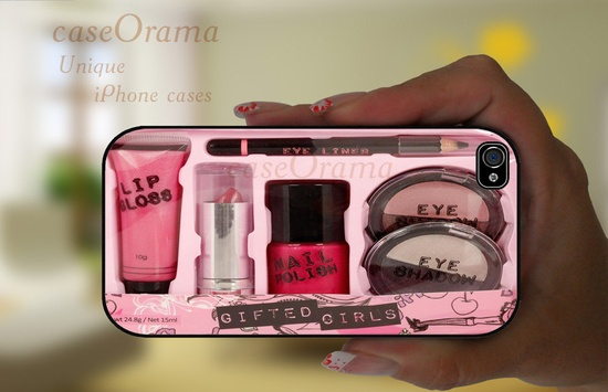 iPhone 5 rubber case - MAKE UP KIT girly pink iPhone 5 case, iPhone 5 cover, iPhone hard rubber case. $19.50, via Etsy.