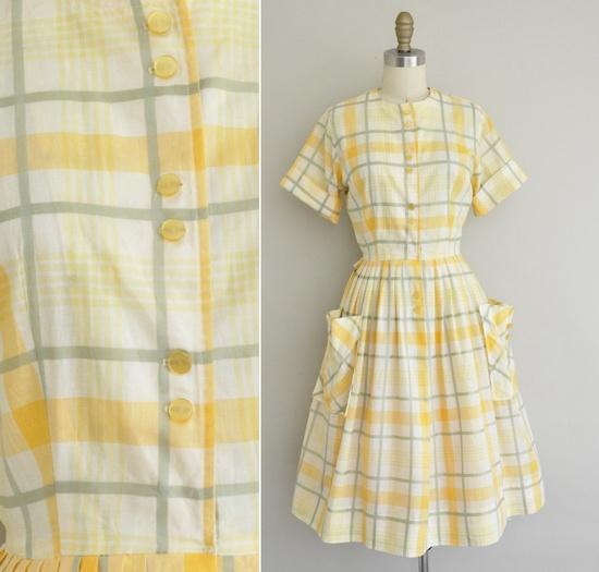 50s dress / 1950s vintage dress / 50s Orange Peel plaid cotton dress. $68.00, via Etsy.