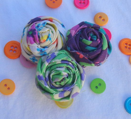 Cute Hand-Made Fabric Flower Pin, Charming Rosette Brooch in Colorful Violet and Mint Patterns