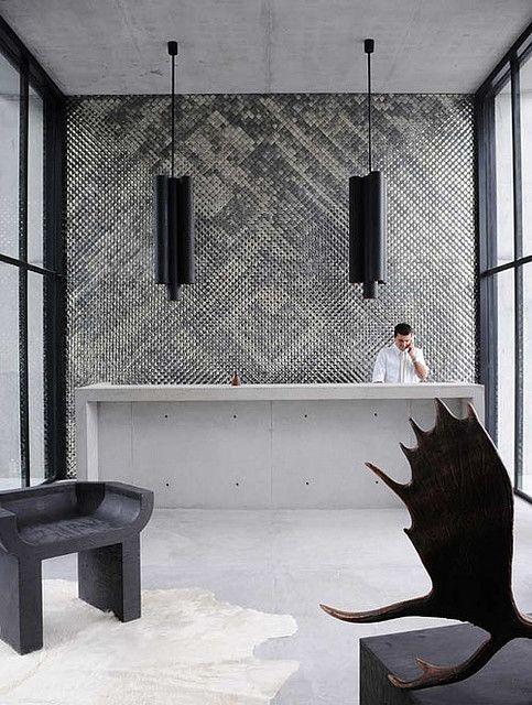 :: HOTELS :: INTERIORS :: Designer:  Joseph Dirand  Project: Capital Hotel, Mexico City  ENTRANCE MIRRORS / photo © Adrien Dirand, courtesy of DISTRITO CAPITAL #hotels #interiors #black