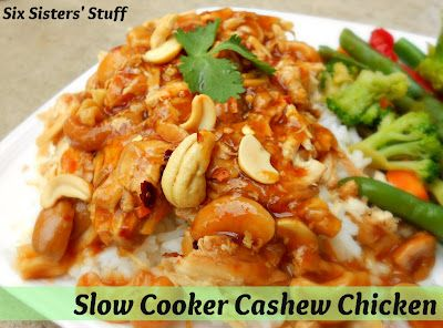 Slow Cooker Cashew Chicken- one of my favorite Thai food recipes! Easy to make and tastes delicious. SixSistersStuff.com #thai #recipe #chicken ~~ Almost a paleo meal. Might have to play with it a bit. -Suki