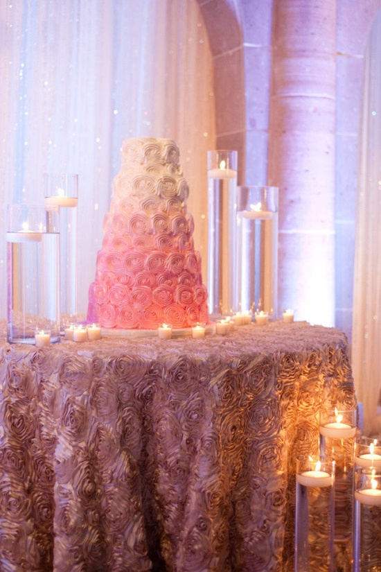A pink ombre cake taken to an all new level! / Wedding Cake by cakesbyginahousto... / Photography by natehendersonphot...