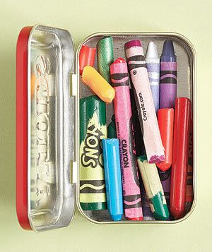 Crayons in a Altoids tin