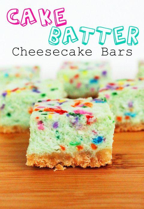 Cake batter cheesecake bars!