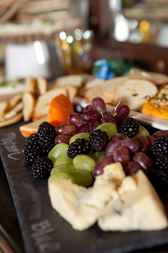 Cheese and fruit platter.