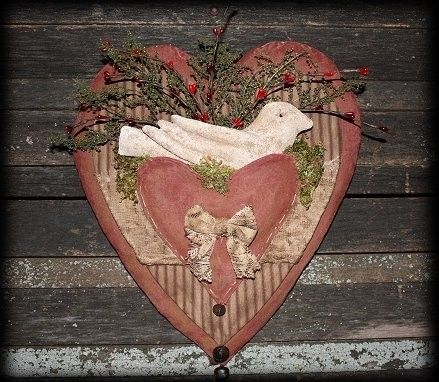 Primitive Valentine Vintage Heart Dove Door Hanger