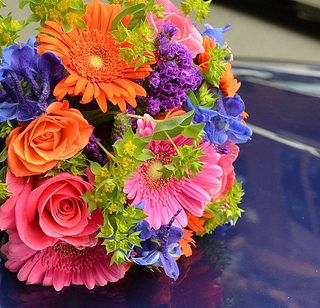 Colorful Summer Flowers - roses, delphinium, gerbers and statice.
