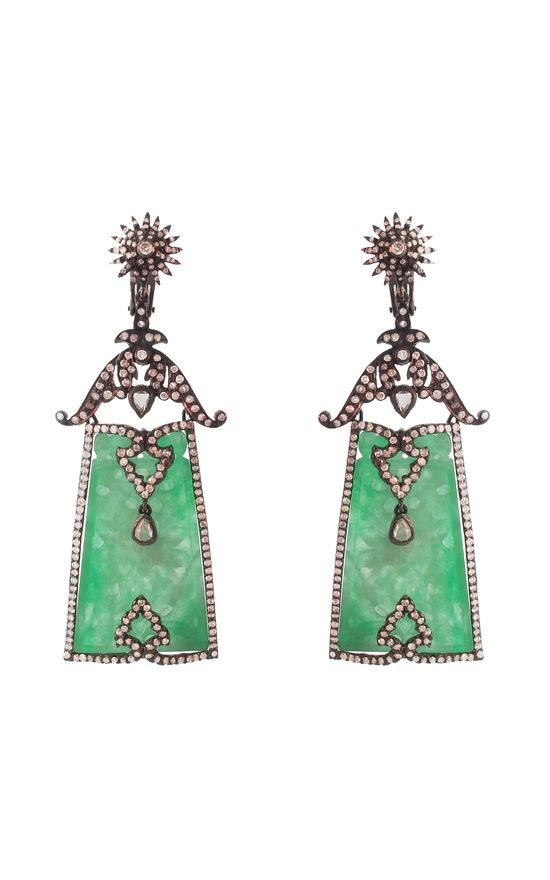 Jade Plaque and Diamond Earrings