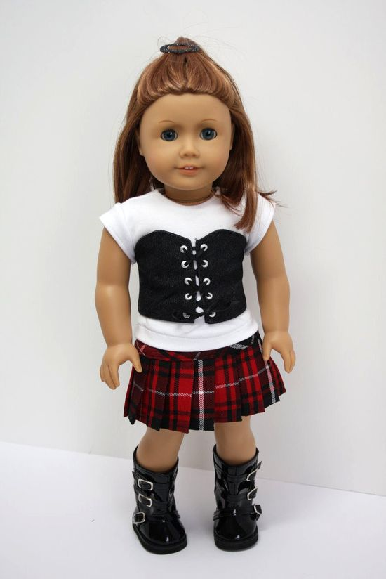 American Girl Doll Clothes-Denim Vest, White Tee and Pleated Skirt