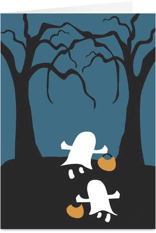 White Ghosts Silhouette Halloween Card