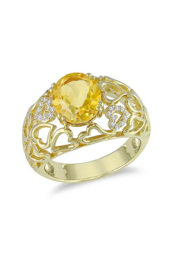White Diamond & Citrine Heart Ring
