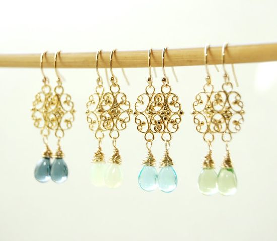 Alohilani earrings  aqua and gold drop earrings by kealohajewelry
