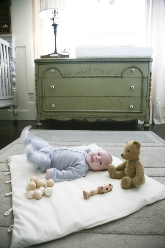 Green dresser (cute baby, too!)