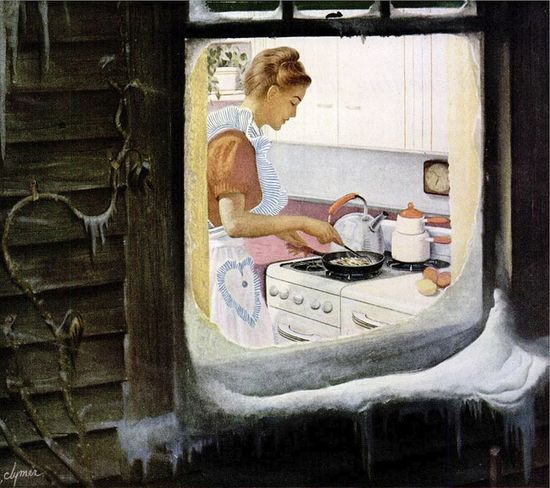 Such an idyllically lovely winter scene of domesticity. #vintage #1940s #woman #kitchen #cooking #food #winter #snow