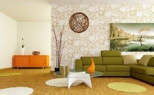 Retro white orange green living room #home decorating #modern interior design #home design #interior design