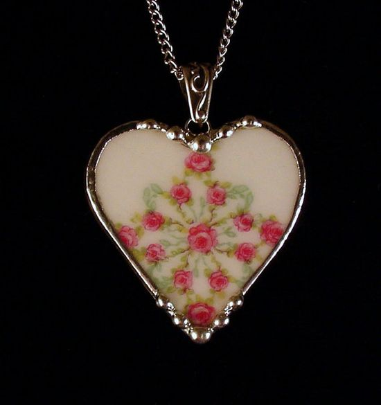 One of a kind antique rose porcelain. Broken china jewelry heart pendant necklace. Made from a broken china plate by Dishfunctional Designs
