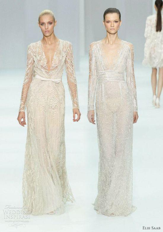 elie saab 2012 bridal - long sleeve wedding dress ideas from the runway