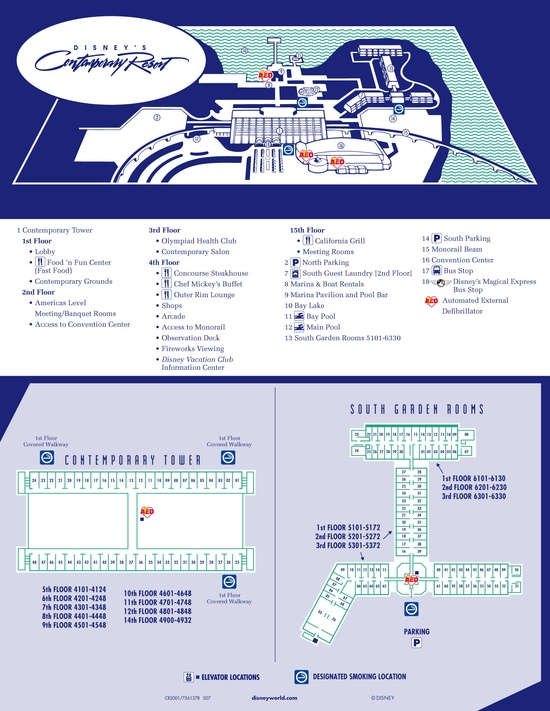 Disney Resorts -- Contemporary Resort map