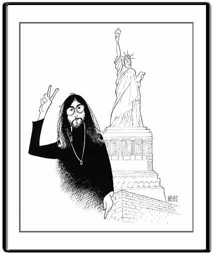 John Lennon Peace and Liberty.  Original Crow's Quill Pen & Ink Drawing on Artists' Board. Hand signed by Al Hirschfeld in ink