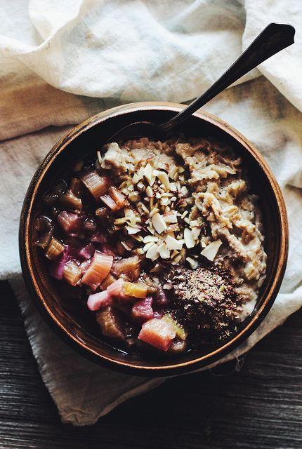 nutty rhubarb oatmeal.