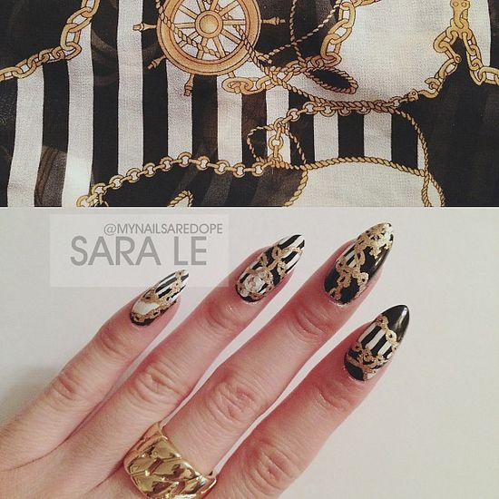 mynailsaredope:    Inspiration from one of my shirts. ???????? #nails #nailart #nailporn #notw #dope #fashion #love #chains #stripes #mynailsaredope