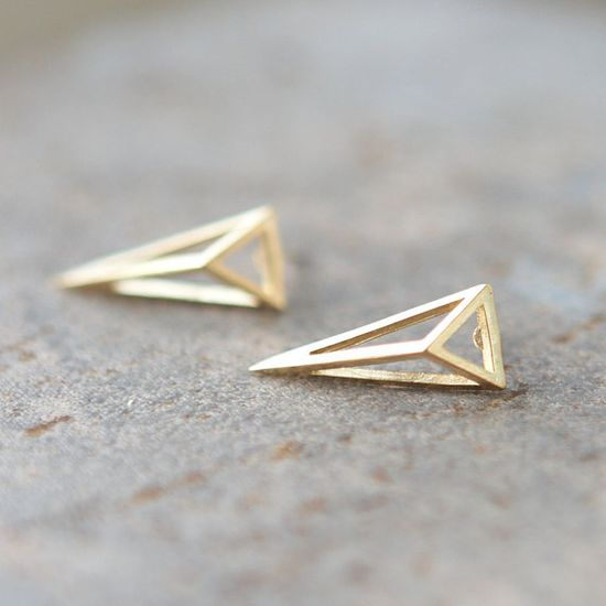 3-D triangle earrings.