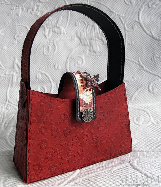 paper purse pattern and tutorial on using crayons for leather-look embossing