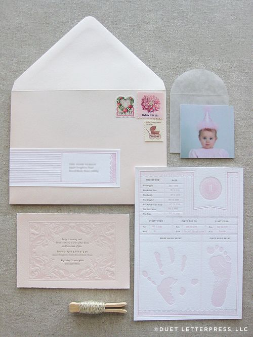 sweetest baby birthday invite via duet letterpress.