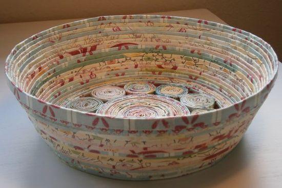 Handmade Paper Basket  Blue/Cream medium