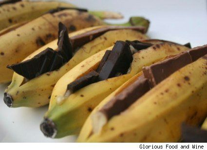 Chocolate-stuffed bananas on the grill. Could almost skip the s'mores if these were for dessert...