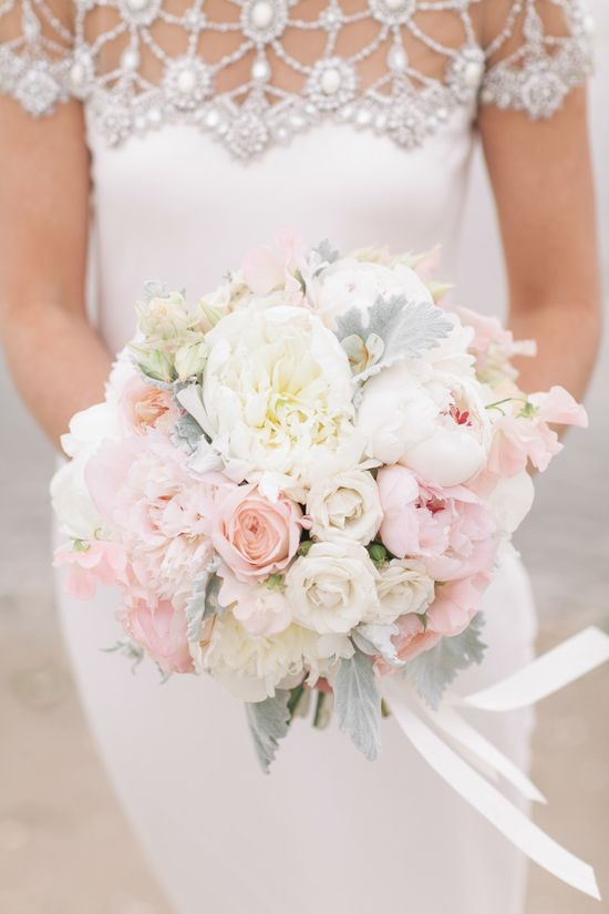 Bouquet: Peony + Rose + Lamb's Ear #bouquet #pastels #wedding #peonies