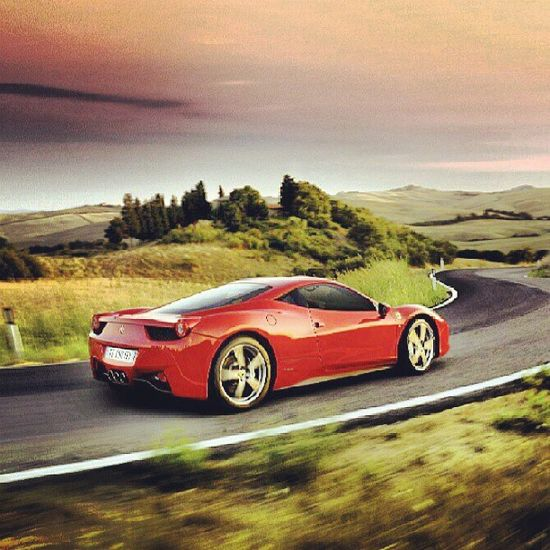 Countryside cruising in the delightful Ferrari #458