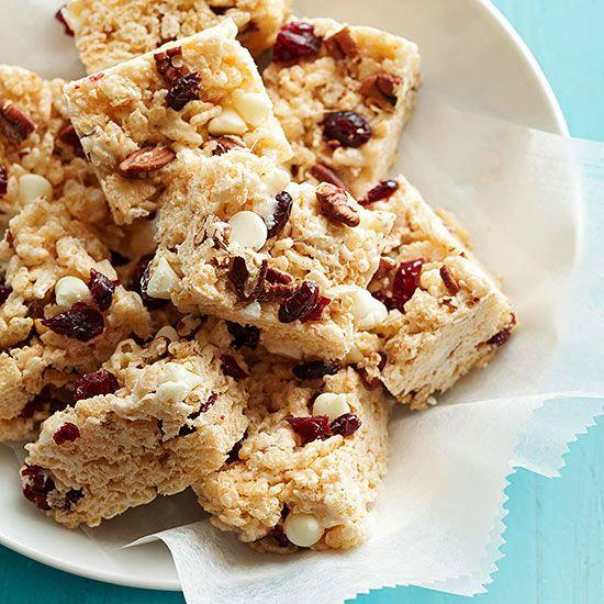 White Chocolate-Cranberry Crispy Treats. More healthy no-bake desserts: www.bhg.com/...