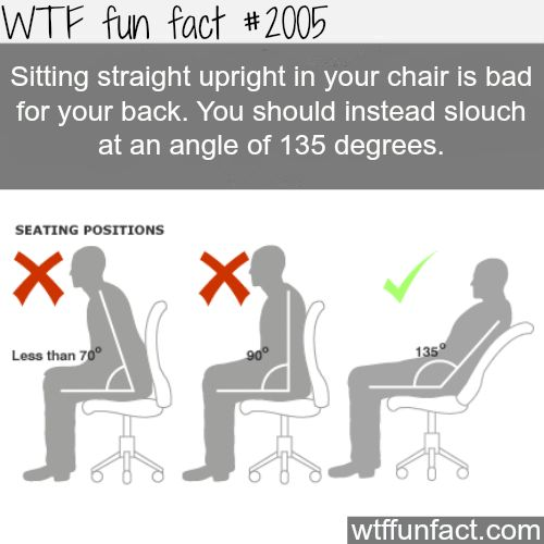 Sitting stright upright in your chair is bad -WTF fun facts