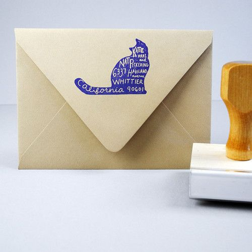 Great Cat Stamps: Custom Pet Return Address Stamp #cat
