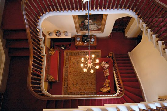 The Family Steps at Highclere (Downton)~these are used to retire privately to the bedrooms. The formal staircase in the foyer was for appearances and greeting Guests.