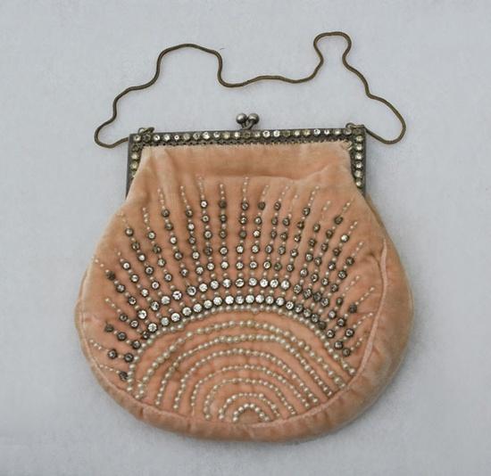 French beaded velvet evening bag, 1920s