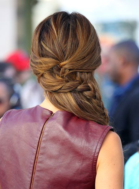 Maria Menouno's half up double not quite french side braid.