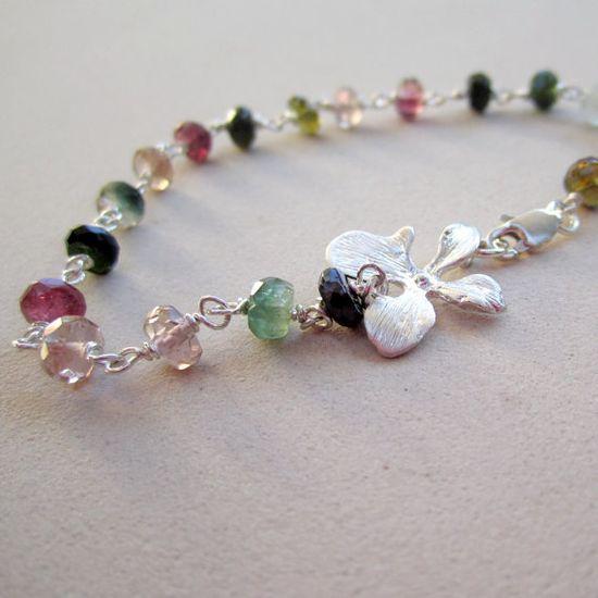 Watermelon Tourmaline Bracelet October by jewelrybycarmal on Etsy, $50.00