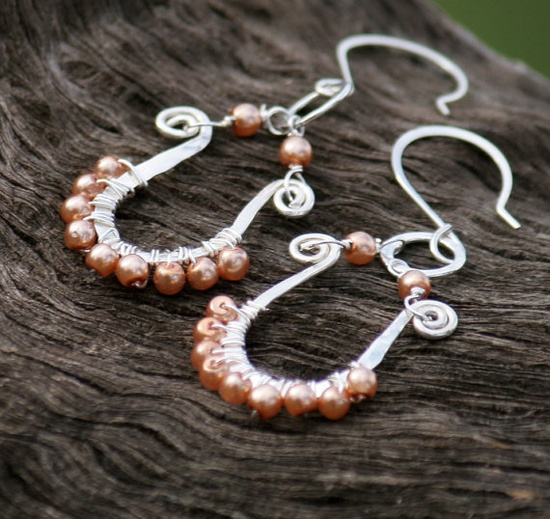 Silver Earrings Wire Wrapped, Pink Pearl
