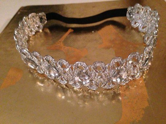 Silver elastic handmade headband 1.5 in wide, hair accesories